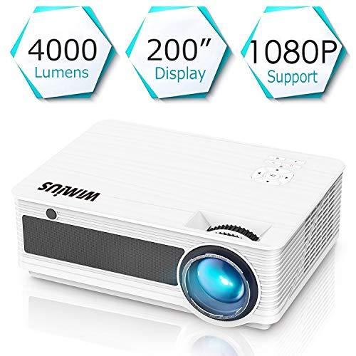 Proyectores, WiMiUS P18 4000 Lúmenes 5.8' LCD Proyector de Video con 200' Pantalla, Soporta Full HD 1080P, Contraste 4000:1, 50000 Horas, con el Interfaz HDMI/ USB/ VGA/ AV/ TF Blancho