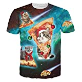 HWHColor 3d Pizza Cat Shirt Festival Short Sleeve Graphic Tee für Männer