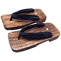 CRB Fashion Mens Japanese Traditional Kimono Wodden Clogs Slippers Sandals (Size 38, Black)