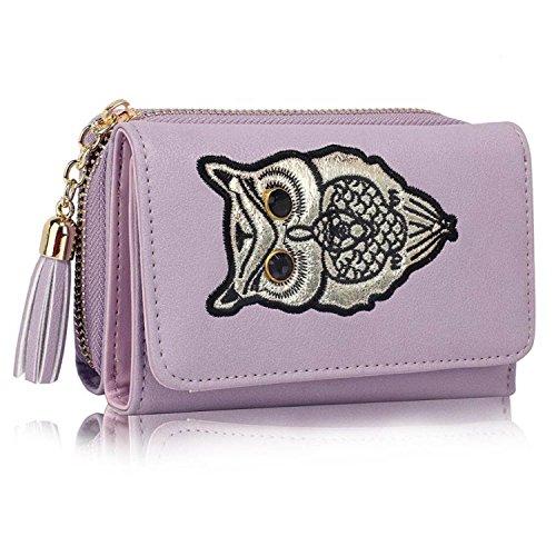 Xardi London Trifold-Portafoglio da donna con portamonete Notes-Clutch Bag Lavender Style 2