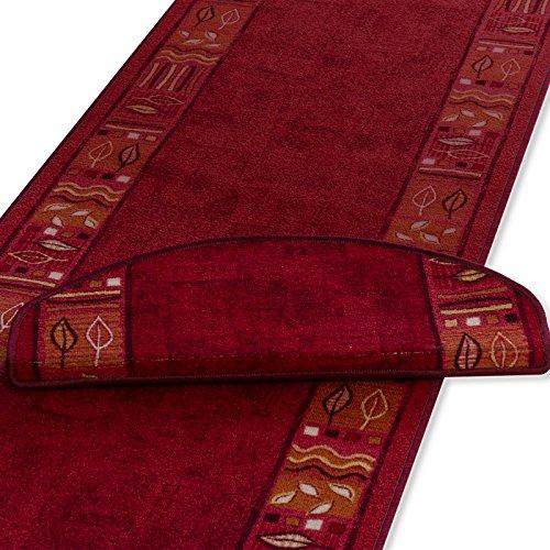 Teppich Läufer rot mit kreativem Randmuster | Qualitätsprodukt aus Deutschland | GUT Siegel | kombinierbar mit Stufenmatten | 4 Breiten und 18 Längen (67 x 250cm)