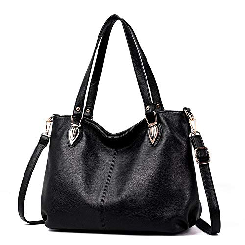Kieuyhqk Damen Leder Tote Bag Damen Casual Bag Damen Schulter Messenger Bag Damen Casual Handtasche Schulter-Handtasche (Color : Black)