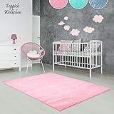 Kinder-Zimmer-Teppich im bunten Wolken Design oder Uni Farben   rund oder rechteckig   Ideal für Jungen, Mädchen oder im Baby-Zimmer   Ökotex Zertifiziert (Rosa, 80 x 150 cm)