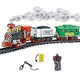 Ksruee Juego clásico Recargable de Tren de Vapor Orbita eléctrica Tren de Tren Juego de Juguete con Humo Real Luces y Sonidos auténticos niños Boy Girl