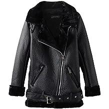 Newbestyle Jacke Damen Übergangsjacken V Ausschnitt Kleidung Mantel Fell  Winterjacke Jacket Wintermantel Top Coat mit Schrägem 3f3bbdff33