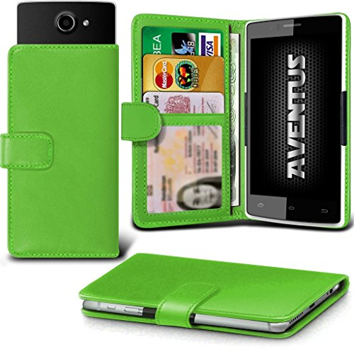 Aventus Homtom Ht6 Grüne Premium-PU-Leder Universal Hülle Spring Clamp-Mappen-Kasten mit Kamera Slide, Karten-Slot-Halter & Banknoten Taschen