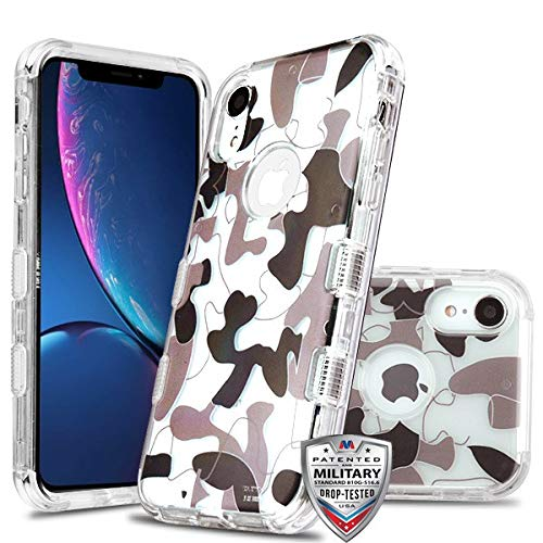 Case + Tempered_Glass + Stylus, TUFF Lucid Hybrid-Schutzhülle für Apple iPhone XR/iPhone 9 (Militär-Zertifiziert), Transparent/Transparent/Urban Camouflage/Kuh Skin