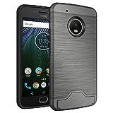 #5: Cock Shock Proof Case For Motorola Moto G5 Plus Hidden Card slot, Kickstand, Brushed Hybrid Dual Layer Back cover - Grey