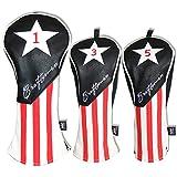Craftsman Golf schwarz weiß rot Streifen USA STAR PU Leder # 1# 3# 5H DRIVER/FAIRWAY HOLZ/Hybrid Schlägerhaube Klinge Mallet Putter Abdeckung, 3pcs(#1,3,5)