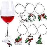 6 Pièces Anneaux de Verre de Vin Charmes Étiquettes de Verre à Vin Bagues de Vin de Noël pour Gobelet Boisson Marqueur, 6 Styles