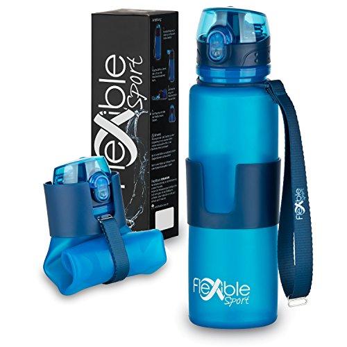 Faltbare Trinkflasche - Platzsparende Sportflasche, 650ml, BPA frei, lebensmittelechtes Silikon, auslaufsichere Sporttrinkflasche – Ideal für Sport, Freizeit, Outdoor und Reisen – Flexible Sport