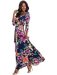 22cf55a05 Vestidos Estampados Flores Mujer de Verano Cuello en V Manga 3 4 Cintura  Alta con Cinturón Vintage Bohemio Hippie Chic Caftan Tunica…