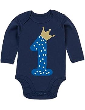 Shirtracer Geburtstag Baby - 1. Geburtstag Krone Junge Erster - Baby Body Langarm