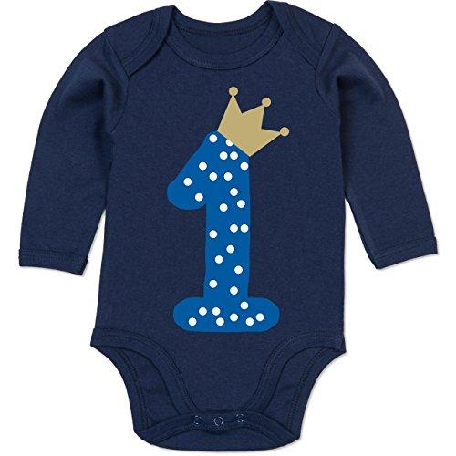 Shirtracer Geburtstag Baby - 1. Geburtstag Krone Junge Erster - 12-18 Monate - Navy Blau - BZ30 - Baby Body Langarm
