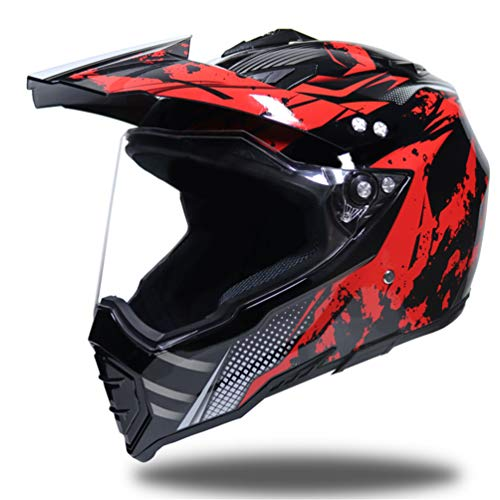 Off-Road Full Face Motorradhelm, Erwachsene Anti-UV-Linse Flip Up Motorradhelm, Moto Motorcross Safety Caps 55-62cm