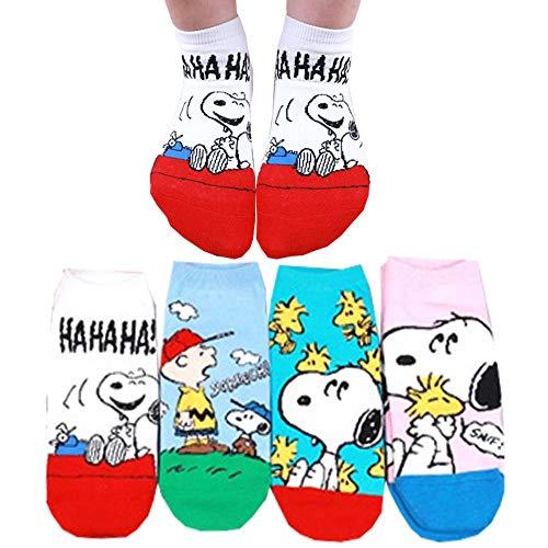 Die Peanuts Comics Charakter Sneakersocken Damen Knöchel Socken mit Beutel Packung mit 4 Paaren - Charlie Brown, Snoopy, Woodstock