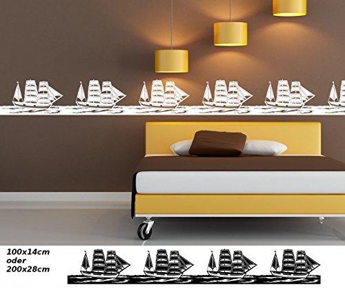Wandtattoo selbstklebend Bordüre Schiff Boot Pirat Wasser Landschaft Set Wandaufkleber Aufkleber Kinderzimmer 1U130, Farbe:Azurblau glanz;Länge...