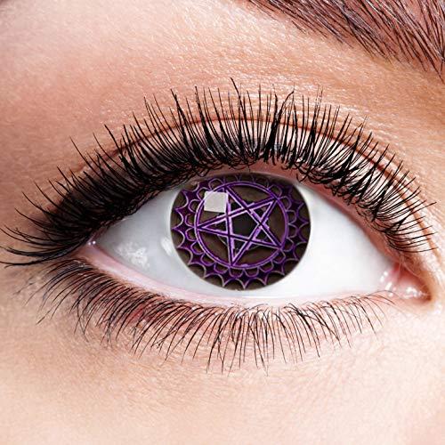 Farbige Kontaktlinsen Lila Motivlinsen Ohne Stärke mit Motiv Linsen Halloween Karneval Fasching Cosplay Kostüm Purple Pentagramm Stern Eye