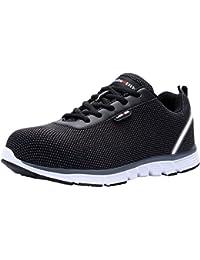 Zapatillas de Seguridad Mujer, LM-30, Zapatos de Trabajo con Punta de Acero Ultra Liviano Suave y cómodo Transpirable (42 EU, SB Negro)