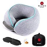MAMO Cuscino Cervicale da Viaggio in Memory Foam ergonomico di ottima qualità, Cuscino da Collo per Aereo, Auto, divano e scrivania Cuscino Collo Posturale con mascherina notte e tappi per orecchie