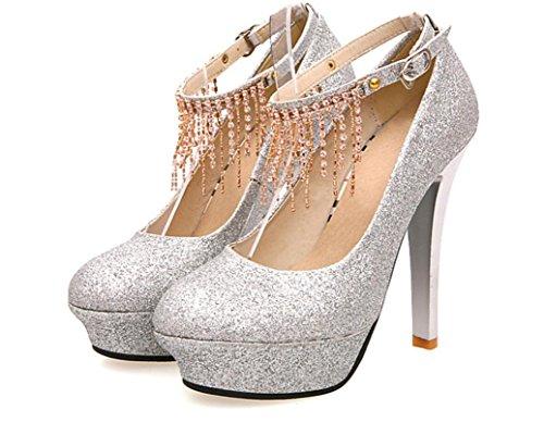 YCMDM Printemps Et Automne Nouveau Mariage Chaussures FEMME Mode Haute Talons Chaussures Unique Strass Imperméable Plateforme Talons silver