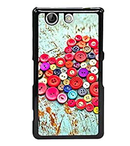 PrintVisa Buttoned Heart Pattern High Gloss Designer Back Case Cover for Sony Xperia Z4 Compact :: Sony Xperia Z4 Mini