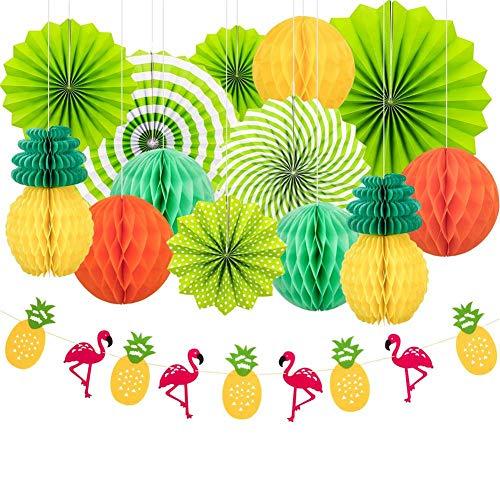 Papier Blumen Fächer Set Aufhängen Fächer Party Dekoration 13 Stücke Hawaiianischer Stil mit Hängenden Papierfächern, Papierlaterne, Papierblumenkugel, Ananas Und Flamingo banner Kulissen Dekoration