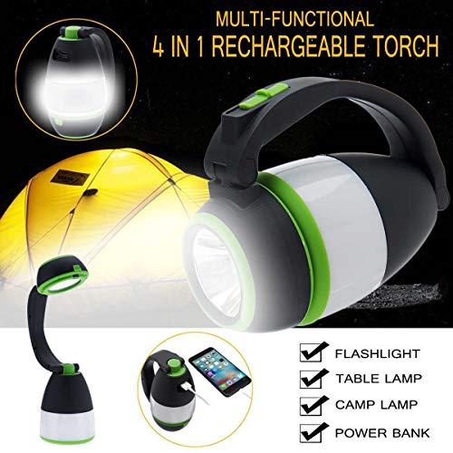 4 in 1 Tragbare Wireless LED Home Nachtlicht Tischlampe USB Wiederaufladbare Outdoor Camping Notlicht Laterne energienbank XLLF (Wattage : Battery power) -