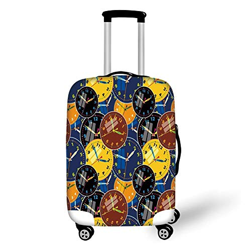 Travel Luggage Cover Suitcase Protector,Clock Decor,A Pattern with Clock Faces on It Vintage Illustration Decorative Design,Yellow and Black,for Travels 19x27.5Inch Clean Stretch-cap
