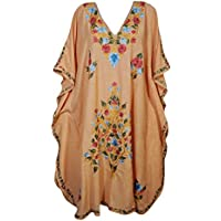Mogul Interior Women Caftan Peach Kashmir Embroidered Kaftan Maxi Dress One Size