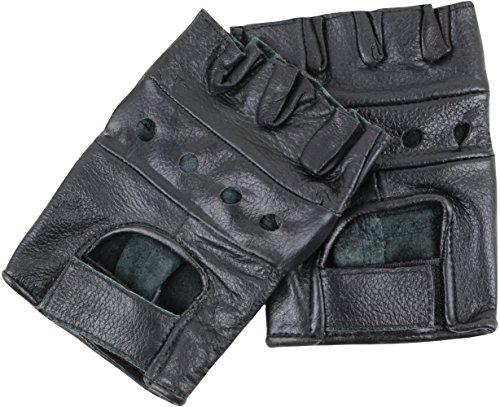 Lederhandschuhe ohne Finger Schwarz S (Finger Leder)