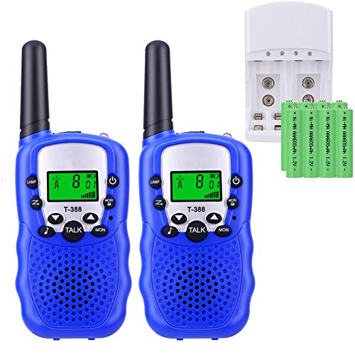 Walkie Talkie Bambini con 8 Pezzi Batterie Ricaricabili e Caricabatterie Ricetrasmittente per Bambini Walkie Talkie Torcia VOX 8 Canali PMR446 Display LCD 4 Colori (Blu, 8 batteries)