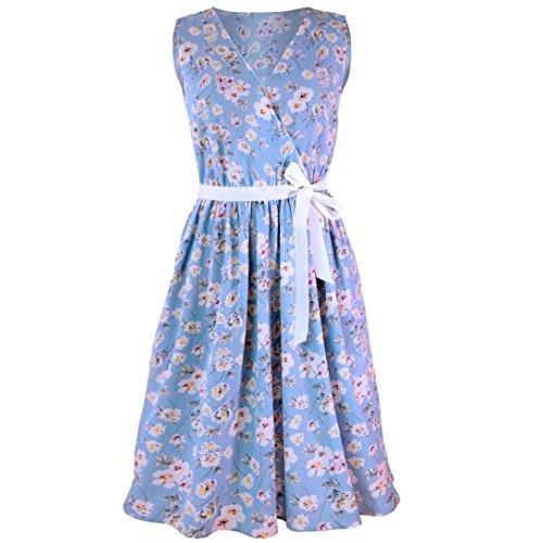 MOIKA Damen Kleid, New Mode Frauen A-Linie beiläufige Blumendruck V-Ausschnitt ärmellose Gürtel Verband Mini-Tank-Kleid(M,Himmelblau)