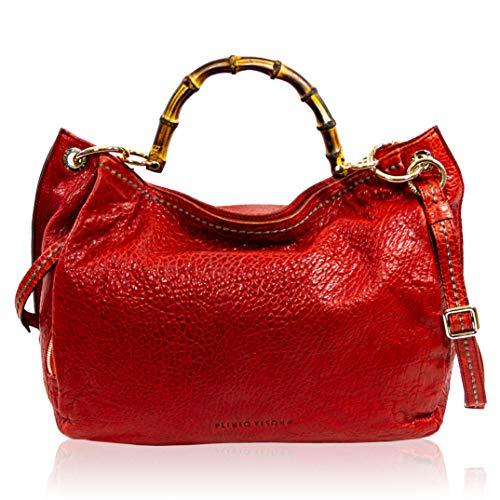 VISONÀ Plinio Damen Handtasche Extra Large Italienische Designer-Handtasche aus echtem Leder Griff Umhängetasche Hobo in venezianischem Rot mit Bambusgriffen -