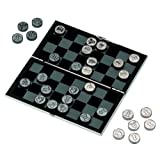 Silver Plated Travel Chess and Draughts Set