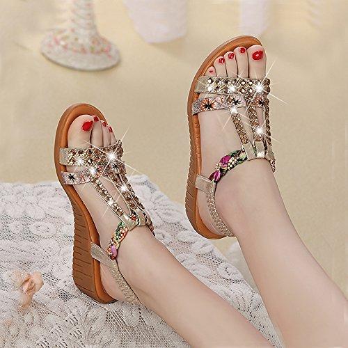 XY&GKKeilabsatz Sandalette Strass mit wasserdichten Plattform, flache Unterseite elastisch'S Band Frauen Sandalen, komfortabel und schön 39 gold