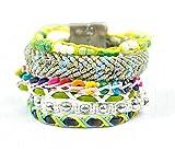 BeyDoDo Modeschmuck Damen Armband Boho Handgemachte Geflochtene Armreif mit Zirkonia Wickelarmband Freundschaft Armbänder für Frauen