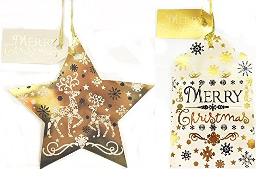 10Luxus Weihnachten Geschenkanhänger Folie gold Gewinde Geschenk Wishes Kind Kinder Etiketten Geschenkpapier Rentier Schneeflocke