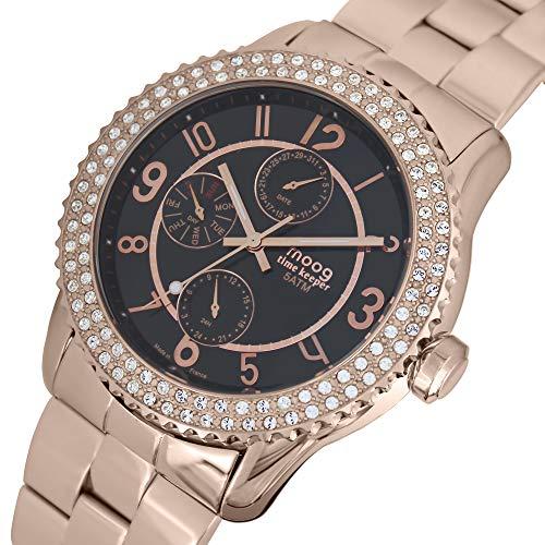 Moog Paris Time Keeper Montre Femme avec Cadran Noir, Eléments Swarovski, Bracelet Rose Gold en Acier Inoxydable - M44734-003