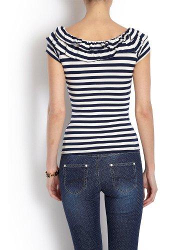 Morgan - T-shirt - À rayures - Manches courtes - Femme Bleu (Marine/Écru)