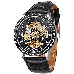 Men's Wrist Watch - Ikcolouring Black PU Band Automatic Mechanical Men's Wrist Watch Hollow for Dress /Casual