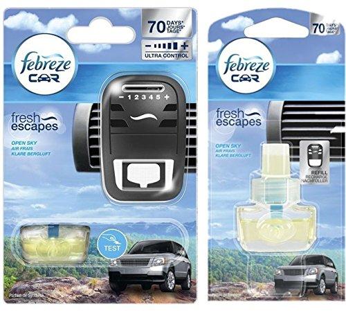 Preisvergleich Produktbild Bundle - Febreze Car Fresh Escape Klare Bergluft Starterkit + Nachfüller