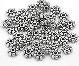 SiAura Material 1000 Stück Metallperlen 2x4mm mit 1,3mm Loch, Blume, Antiksilber zum Basteln
