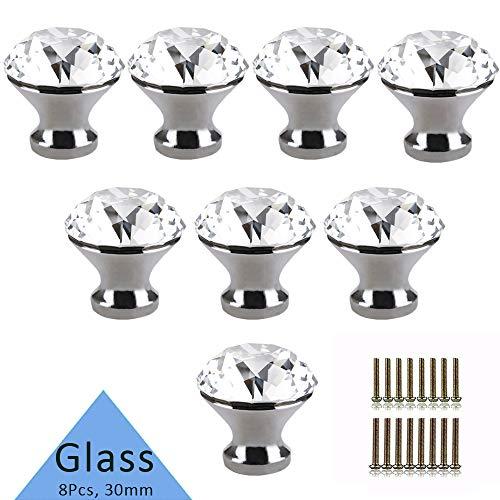 Tencro 8Pcs 30mm Diamond Shaped Luxus Kristall Knöpfe Glas Knöpfe mit Schrauben für Schublade Tür, Schranktür, Schranktür, Küche, etc. - Silber
