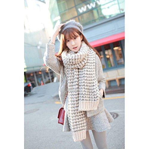 WINOMO Femme écharpe hiver Long Mohair laine douce chaude Vogue Wrap châle Plaid (Beige)