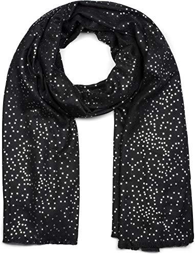 styleBREAKER Damen Schal mit Metallic Punkte Tupfen Muster, Stola, Tuch 01017081, Farbe:Schwarz