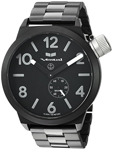 Vestal 'Canteen Metal' Quartz Stainless Steel Casual Watch, Color:Black (Model: CNT453M06.3BKM)