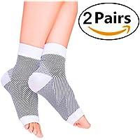 Cudon Kompressionssocken/Fußgelenk Bandage (2 Paar) Schmerzlinderung Plantarfasziitis, Knöchelschmerzen und Schwellungen - Premium Kompressionssocken für Männer & Frauen