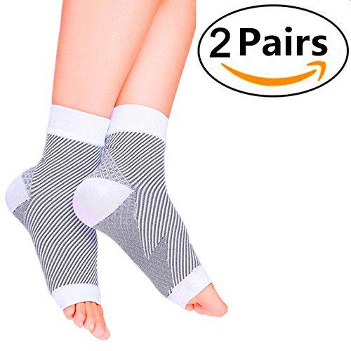 Kompressionssocken / Fußgelenk Bandage (2 Paar) Schmerzlinderung Plantarfasziitis, Knöchelschmerzen und Schwellungen - Premium Kompressionssocken für Männer & Frauen