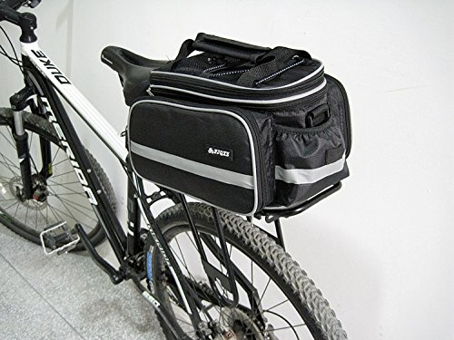 Erasky®Mountain Road MTB Fahrrad Radfahren Sport-wasserdichte Rücksitzbeutel Pannier Trunk Bag Fahrradzubehör Schultertasche Bag Pannier Schwarz